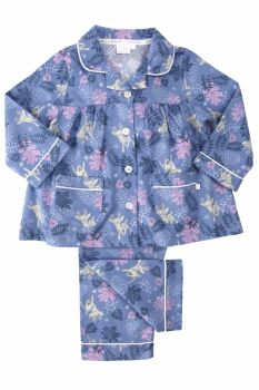 Girls warm brushed cotton traditional style pyjamas