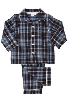 Traditional Blue Small Check Brushed Cotton Pyjamas