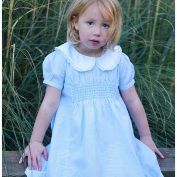 NEW 2018 - Girls Blue & White Striped Smocked Dress