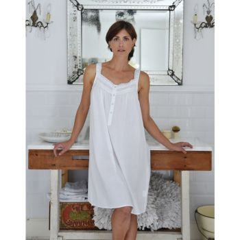Ladies Sleeveless White Nightdress Nightie - Gina
