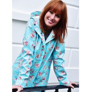 Ladies Blue Floral Print Raincoat