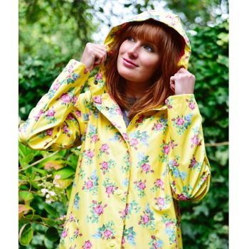 Ladies Rose Floral Print Raincoat