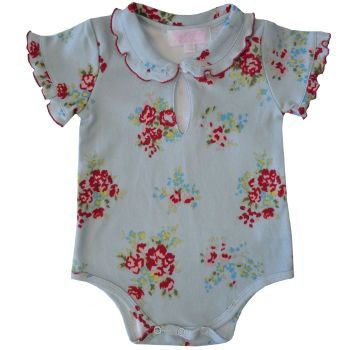 Blue Floral Vest - Baby Girl