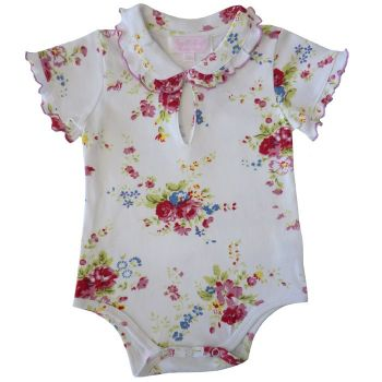 White Floral Vest - T shirt - Baby Girl