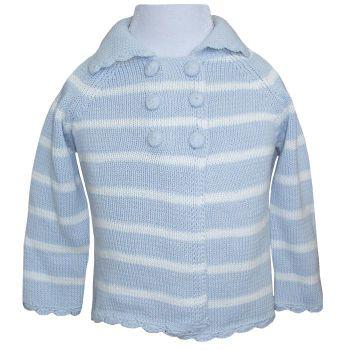 Baby Boys Blue Striped Pram Coat /Cardigan