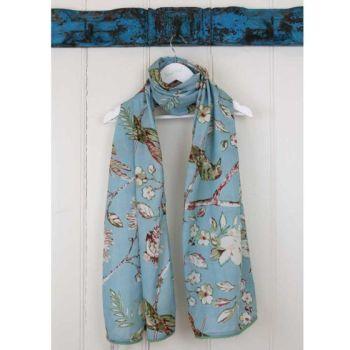 Blue Blossom Scarf with Green Pom Pom Trim