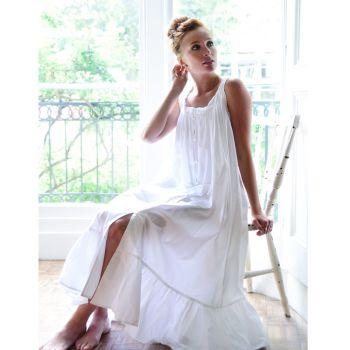 Ladies Sleeveless White Nightdress Nightie - Jodie