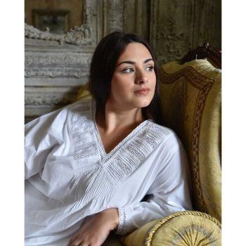 Ladies Long Sleeve white cotton nightdress V neckline - Janet