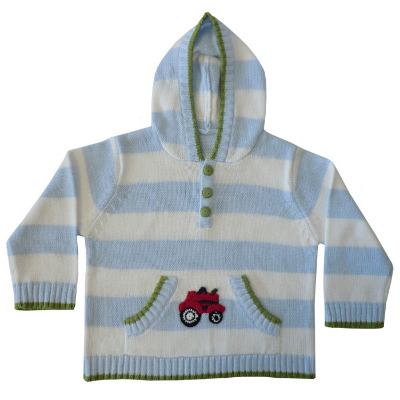 Knitting Pattern Tractor Jumper : Boys Knitted Tractor Hooded Jumper Powell Craft Little PJS