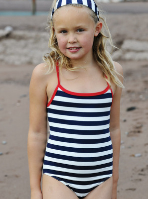 4ee115622ca6c Buy girls navy/white swimming costume | Mitty James | Little PJS