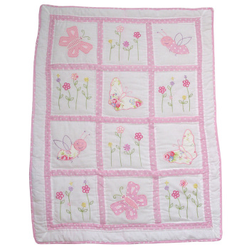 Pink Pocket Stitched Baby Girls Cot Quilt