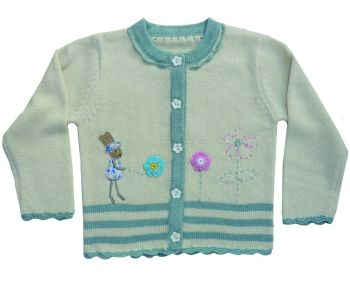 Rabbit Knitted Cream Cardigan 100% Cotton Powell Craft