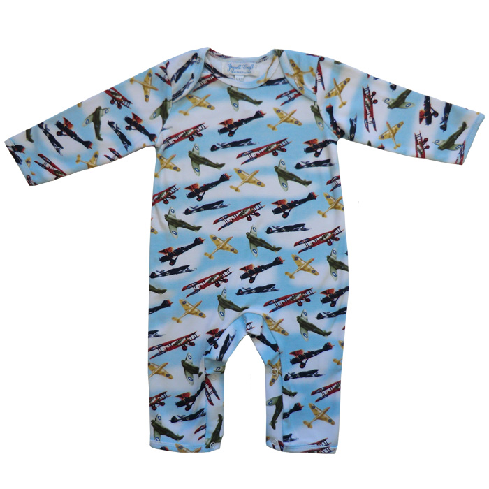 Boys Vintage Airplane Babygro Sleepsuit Powell Craft