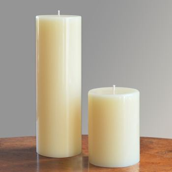 ivory beeswax pillar candles