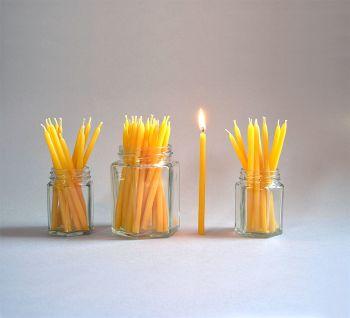 Beeswax birthday cake candles