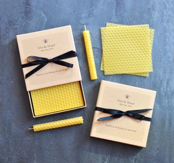 Beeswax candle wedding favour kits