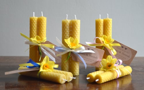 Beeswax candle wedding favour