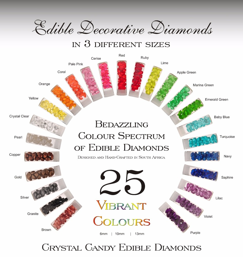 1 x Glass Vial of 10 mm Edible Isomalt Diamonds