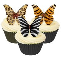 Mixed Pack of 12 Mixed animal design edible butterflies