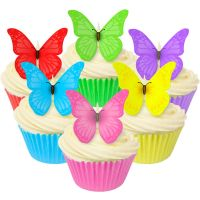 Mixed Pack of 12 Mixed Edible Vivid Wafer Butterflies