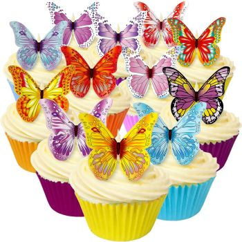 Pack of 12 Mixed edible wafer butterflies