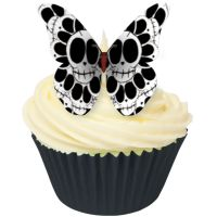 12 Skull Design Edible Wafer Butterflies