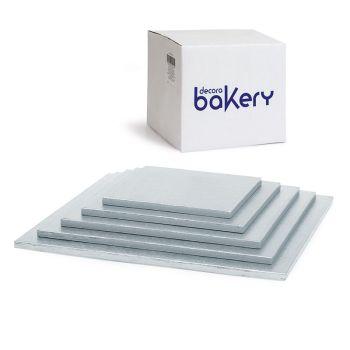 Decora CAKEBOARD SILVER 20 X 20 H 1,2 CM/8X8'', 10 units @ £0.83 per unit.