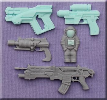 Alphabet Moulds Space Guns.