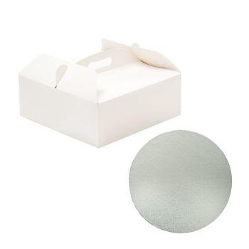 Decora BOX WITH HANDLE 23X23XH10CM CAKE BOARD Ø CM 22,5 X 3 H MM, 10 units @ £1.82 per unit.