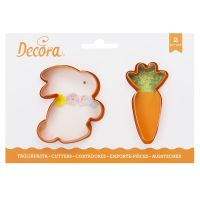 Decora BUNNY AND CARROT PLASTIC CUTTERS SET 8 X H 2,2 CM, 6 units @ £2.30 per unit.