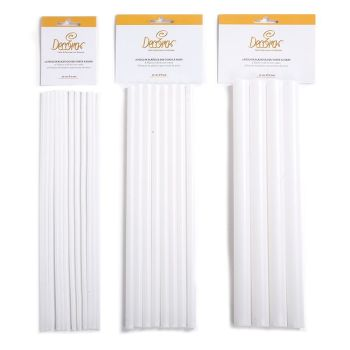 Decora 12 PLASTIC RODS FOR TIER CAKE Ø 4 MM X 30 CM, 6 units @ £2.61 per unit.