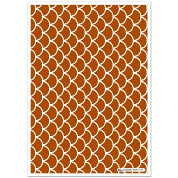 Patterned Paper(A4) - Fish Scales - Brown