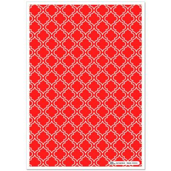 Patterned Paper(A4) - Moroccan - Red. Pack of 6.