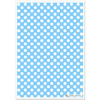 Patterned Paper(A4) - White Polka Dots - Baby Blue. Pack of 6.