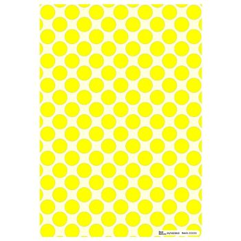 Patterned Paper(A4) - Large Polka Dots - Yellow. Pack of 6