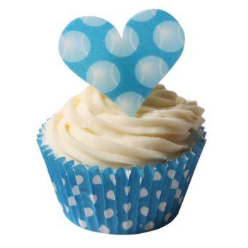 Love Heart Blue Tennis Ball Polka Dot Toppers