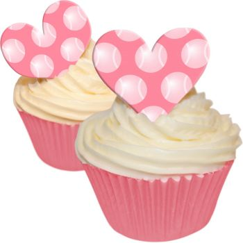 Love Heart Pink Tennis Ball Polka Dot Toppers
