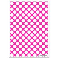 Patterned Paper(A4) - Large White Polka Dots - Cerise Pink. Pack of 6