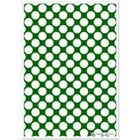 Patterned Paper(A4) - Large White Polka Dots - Dark Green. Pack of 6
