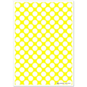 Patterned Paper(A4) - Large White Polka Dots - Yellow. Pack of 6