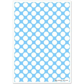 Patterned Paper(A4) - Large White Polka Dots - Blue   Pack of 6