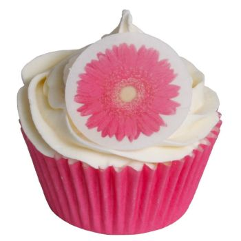 Round Pink Gerbera Cake Toppers