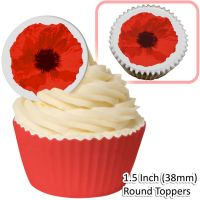 Round Poppy Cake Toppers