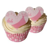 Pink Wedding Dress Heart Toppers