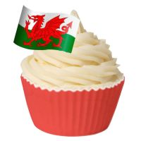 Pack of 12 Edible Wafer Decorations - Welsh Flag
