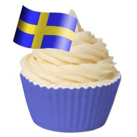 Pack of 12 Edible Wafer Decorations - Swedish Flag - Flag