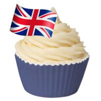Pack of 12 Edible Wafer Decorations - Union Jack