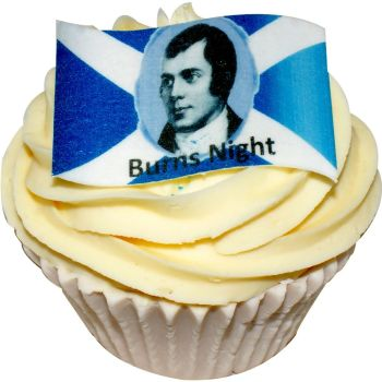 Pack of 12 edible Burns Night wafer flag