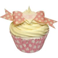 Pack of 10 perfectly cut Baby Pink Polka Dot Bow