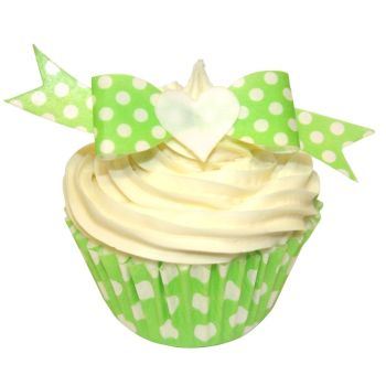 Pack of 10 perfectly cut Green Polka Dot Bows
